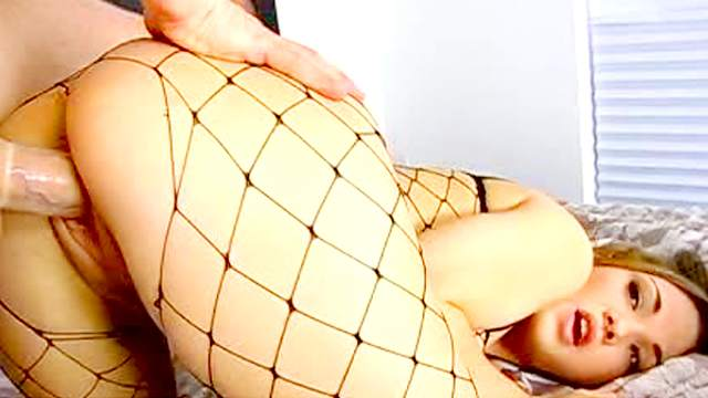 Big booty in black fishnets