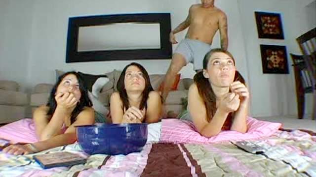 Girls watch movie during sex