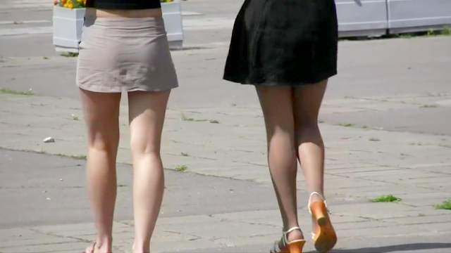 Two upskirts with spicy babes with long legs