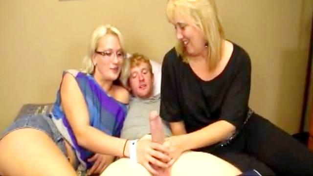 Bedroom, Big dick, Blonde, Blowjob, Cumshot, FFM, Glasses, Mature, Mom, Perfect body, Threesome