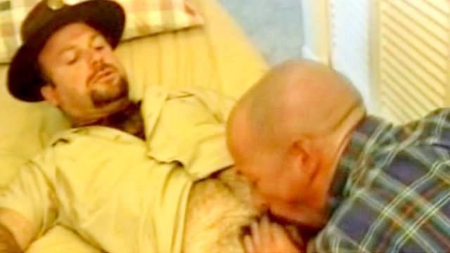Slutty bald gay gives a hardcore blowjob for his boyfriend