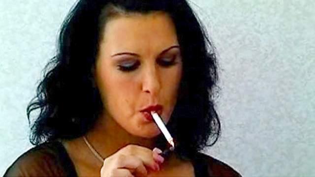 Big tits, Brunette, Cigarette, Fetish, Masturbation, MILF, Smoking, Solo, Stockings