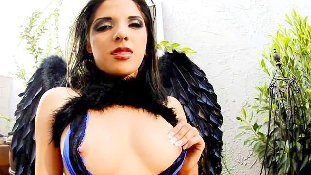 Sexy angel masturbates with purple vibrator