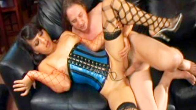 Brunette wearing a sexy corset fucks like nuts