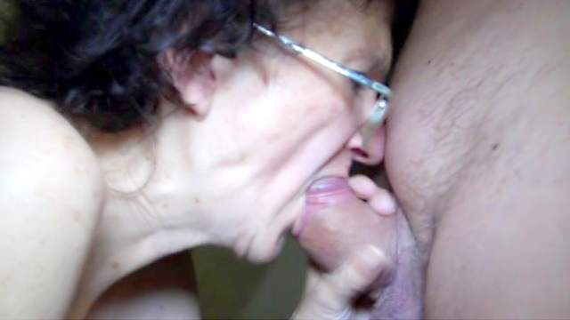 Granny gives a good blowjob for young dick