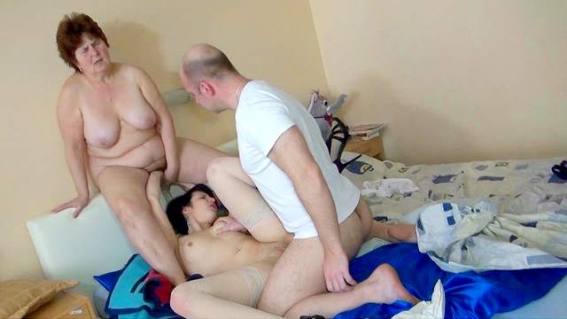 Fat granny and young model are fucking with skinhead