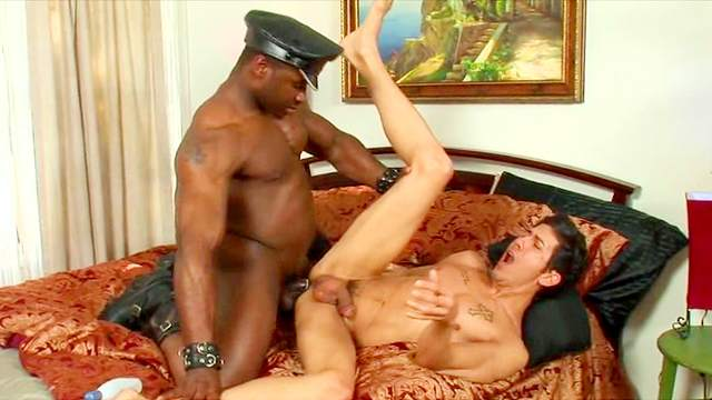 White guy sucks dark meat on his knees