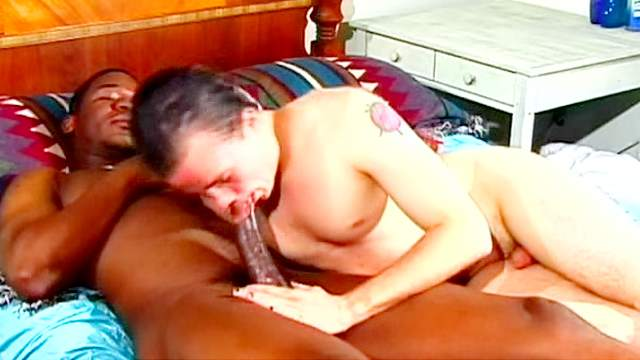 Black guy and his friend jerk off together on the bed