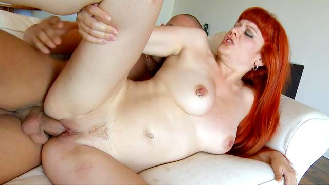 Redhead Lili was filled with sperm