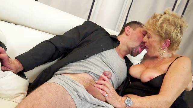 Granny love to fuck with guys in suits