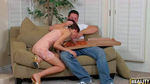 Big tits, Blowjob, Brunette, Cumshot, Hairy, Hardcore, MILF, Pizza