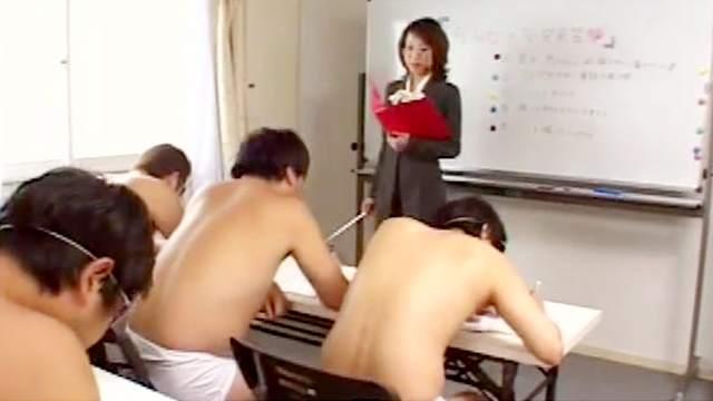 Japanese teacher swallows sperm in the classroom