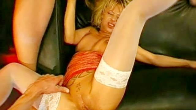 Blonde, Blowjob, Bukkake, Cum in mouth, Extreme, Gangbang, Hardcore, MILF, Missionary, Shaved pussy, Small tits, Sofa, Tattoo