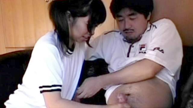 Clothed, Couple, Handjob, Japanese, Ponytail, Schoolgirl, Small cock, Small tits, Stroking, Teen, Young girl