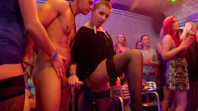 Blowjob, Brunette, CFNM, Clothed, Club, Dance, Handjob, Hardcore, High heels, Natural tits, Orgy, Party, Public, Pussy licking, Reality, Stockings, Teen