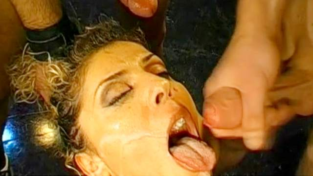 Blowjob, Bukkake, Curly, German, MILF, MMF, Natural tits, On stage, Oral, Threesome