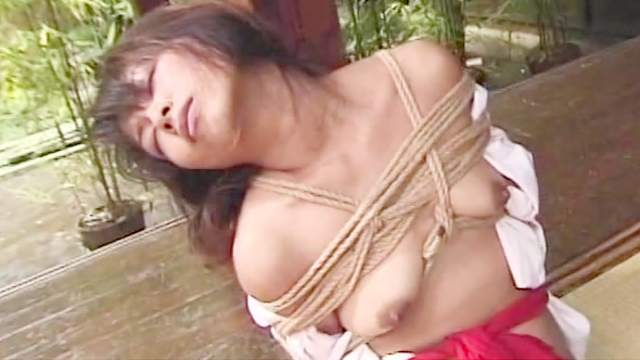 Ball gag, Bondage, Brunette, HD, Japanese, Outdoor, Rope, Shibari, Small tits, Tied, Tits torture