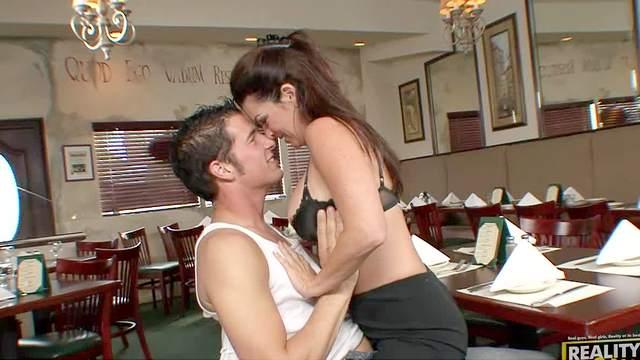 Big tits, Blowjob, Brunette, Cumshot, Lingerie, Mature, Mom, Pussy licking, Restaurant