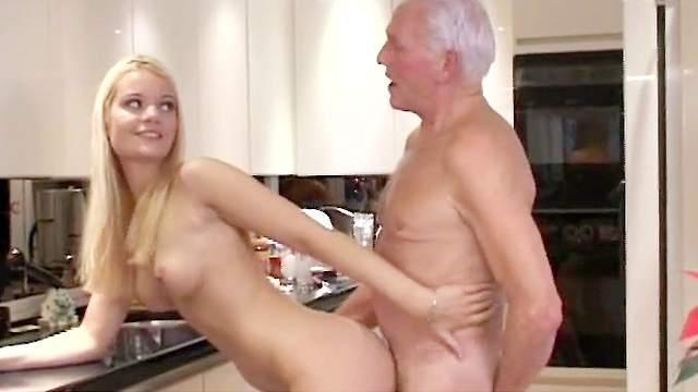Blonde babe Melanie swallows old man's cum after hot sex