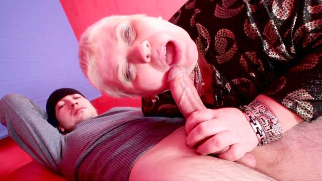 Blowjob, Chair, Couple, Cumshot, Fat, Mature, Shaved pussy, Short hair, Spread legs, Stockings, Titjob
