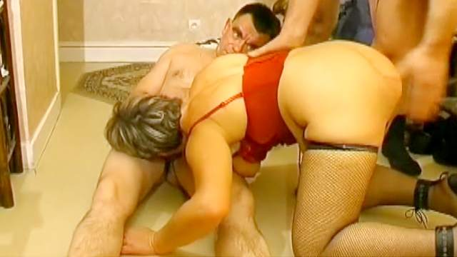BBW, Blowjob, Cumshot, Gangbang, Grandpa, Granny, Riding, Saggy tits, Short hair, Sofa, Stockings