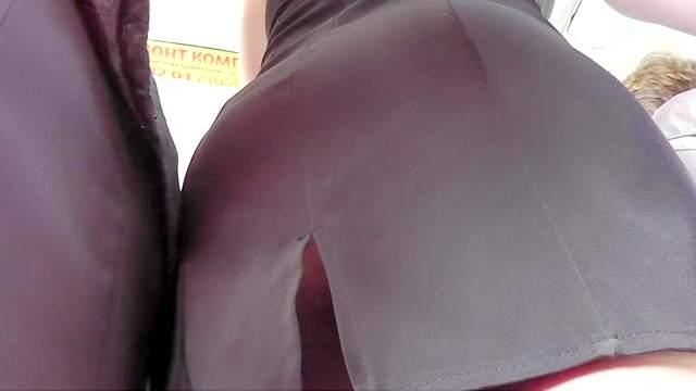 Ass, Bus, Hidden cam, Pantyhose, Public, Upskirt