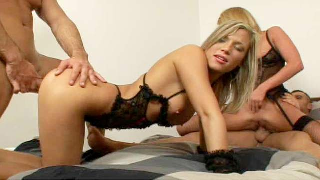 Gorgeous blondie Tina is riding hard cock in a group sex