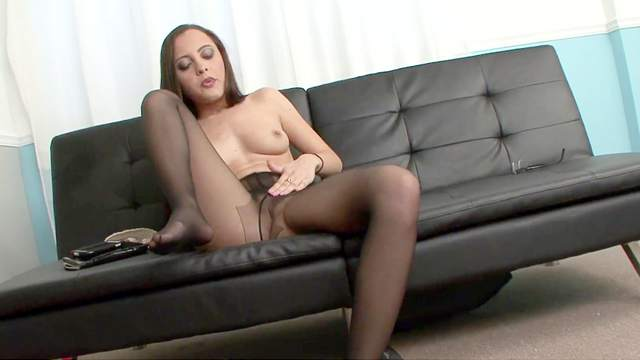 Beauty, Brunette, Masturbation, Natural tits, Pantyhose, Shaved pussy, Sofa, Solo, Tall
