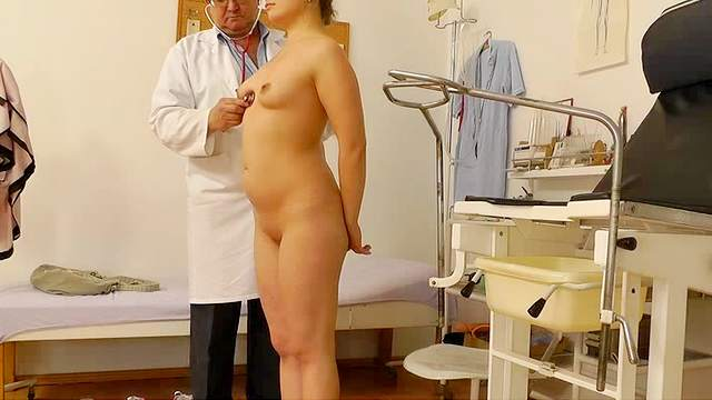 Doctor, Exam, Hospital, Medical, Medical chair, Natural tits, Shaved pussy, Speculum, Young girl