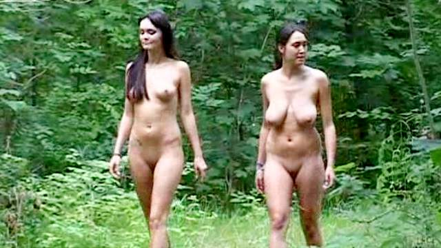 Brunette, Forest, Jeans, Long hair, Nudist, Outdoor, Shaved pussy, Shorts, Small tits, Tattoo, Teen