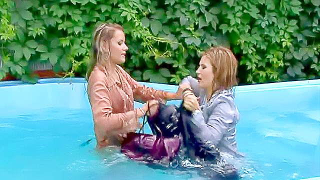 Blonde, Catfight, Clothed, Fetish, Outdoor, Perfect body, Pool, Swimming, Wet