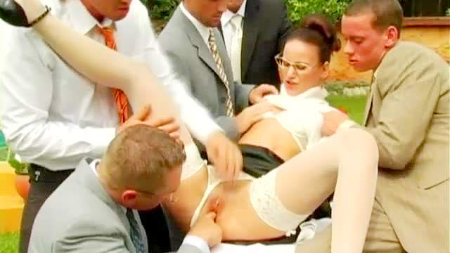 Blowjob, Brunette, Clothed, Cumshot, Double penetration, Facial, Gangbang, Glasses, Nylon, Outdoor, Stockings, Sweater