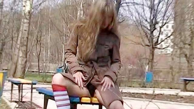 Flashing, Jeans, Outdoor, Park, Public, Skirt, Small tits, Socks, Solo, Teen