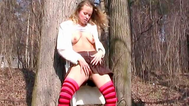 Blonde, Boots, Curly, Fingering, Forest, Long hair, Masturbation, MILF, Natural tits, Orgasm, Outdoor, Skirt, Socks, Solo, Standing