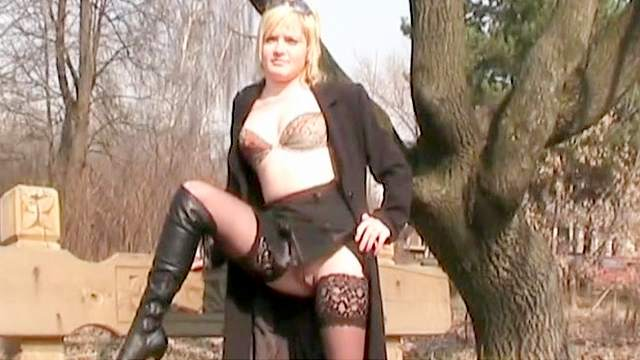 Amateur, Blonde, Flashing, Lingerie, Natural tits, Outdoor, Solo, Stockings