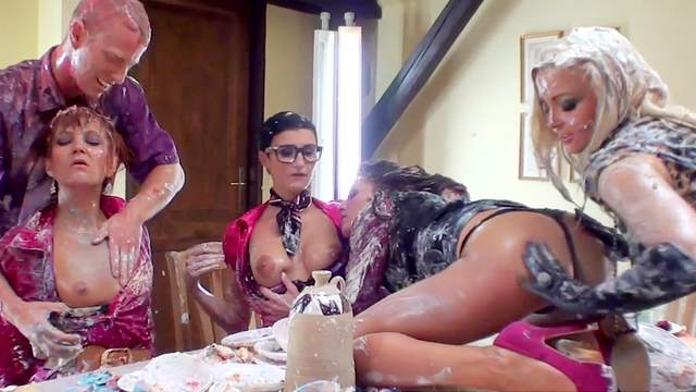 Bend over, Blowjob, Food, Glasses, Orgy, Pussy licking, Table, Thong