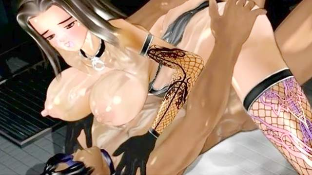 3D Animation, Big tits, Cumshot, Fucking machine, Interracial, Riding, Stockings