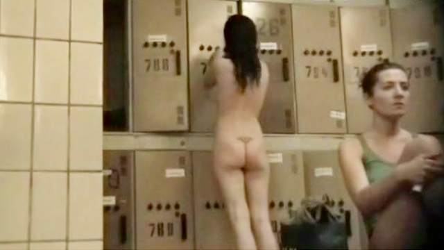 Couple, Locker room, Small tits, Trimmed pussy, Voyeur, Young girl