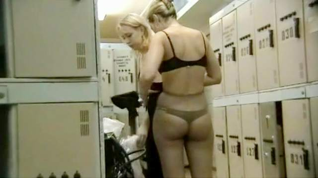 Blonde, Couple, Locker room, Small tits, Standing, Voyeur, Young girl