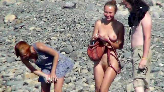 Beach, FFM, Natural tits, Nudist, Outdoor, Standing, Threesome, Trimmed pussy, Vintage, Young girl