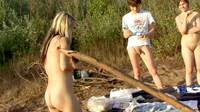 Beach, Cigarette, Group sex, Outdoor, Shaved pussy, Small tits, Smoking, Teen, Young girl