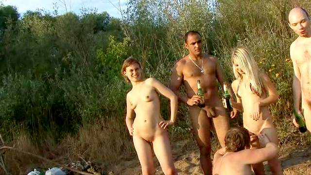 Beach, Masturbation, Nudist, Outdoor, Shaved pussy, Small tits, Standing, Watching