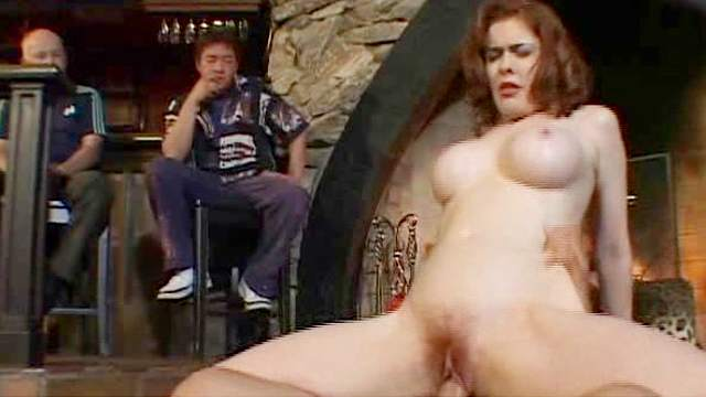 Big tits, Blouse, Blowjob, Couple, Long hair, MILF, Redhead, Reverse cowgirl, Riding, Shaved pussy, Spread legs