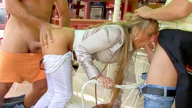 Blonde, Blowjob, Clothed, Cumshot, Facial, Hardcore, Outdoor, Pissing, Restaurant, Threesome