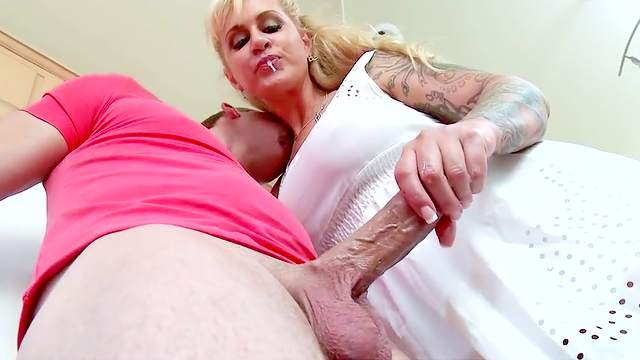 Ass, Big ass, Big tits, Blonde, Blowjob, Close up, Creampie, Doggy style, Fake tits, Footjob, Hardcore, HD, Kitchen, Mature, Mom, Pussy licking, Riding, Table