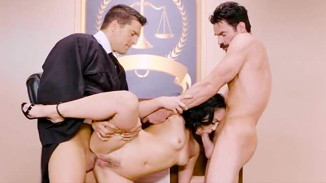 Brunette gets two males to deep drill her wet little holes