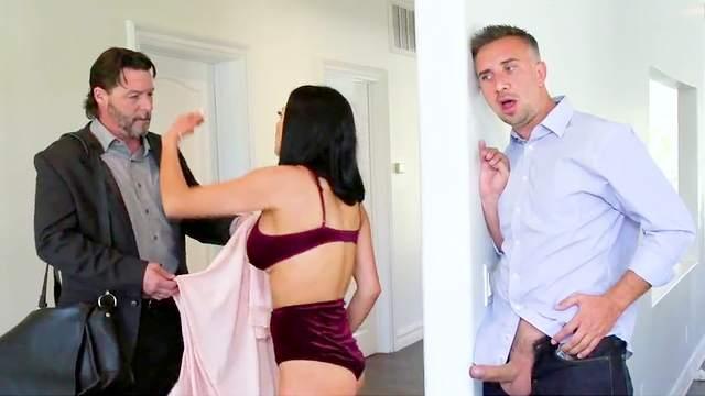 Sexy wife sucks cock and fucks hard while hubby away