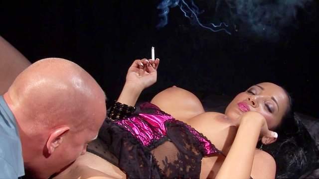 Big tits, Blowjob, Cigarette, Cum on tits, Cumshot, Fake tits, HD, Lingerie, MILF, Missionary, Pornstar, Pussy licking, Smoking, Stockings, 1080p