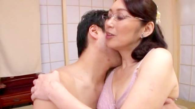 Asian, Creampie, Doggy style, Glasses, Hairy, Japanese, Mature, Missionary, Mom, Pussy licking, Small tits