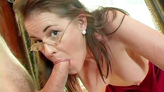 Blowjob, Creampie, Doggy style, Glasses, Mature, Missionary, Mom, POV, Spread legs, Stockings